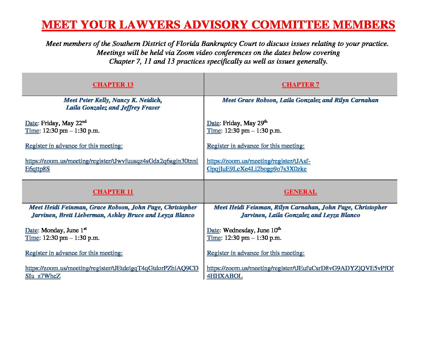 Meet Your Lawyers Advisory Committee Members – Chapter 11